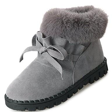 Damskie Obuwie PU Zima Comfort / Modne obuwie / Futro lining Buciki Okrągły Toe Kozaczki / kozaki do kostki Black / Gray