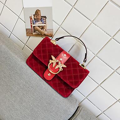 Damen Taschen Samt Tragetasche Taschen für Normal Winter Herbst Schwarz Rote Militßrgrün Gelb
