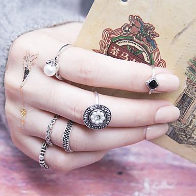 Damskie Pearl imitacja Stop Pierścionki na środek palca - 6 Circle Shape Vintage Modny Na Codzienny