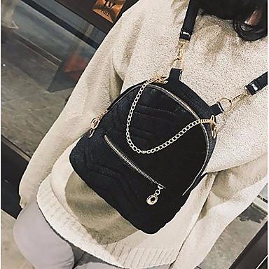Damen Taschen Pelz Rucksack Reißverschluss Schwarz / Rote