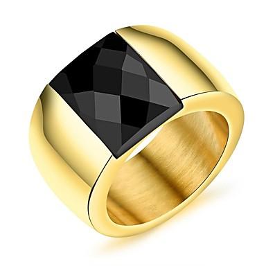 Męskie Pierścionek zaręczynowy Band Ring Cyrkonia Rhinestone Gold Titanium Cyrkonia Stal tytanowa Vintage Elegancki Ślub Party Wieczór