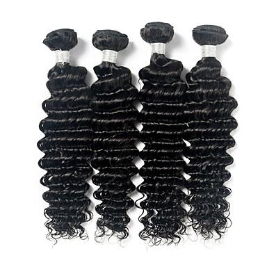 4 zestawy Włosy brazylijskie Pofalowana Włosy remy Człowieka splotów włosów Ludzkie włosy wyplata Ludzkich włosów rozszerzeniach