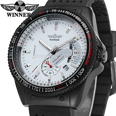 Недорогие Армейские часы-WINNER Муж. Наручные часы С автоподзаводом силиконовый Черный 30 m Календарь Аналоговый Винтаж На каждый день Мода Cool - Белый