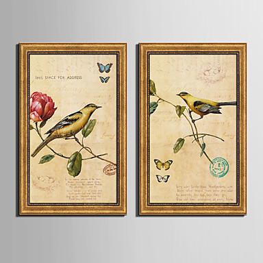 Oprawione płótno Zestaw w oprawie Zwierzęta Kwiatowy/Roślinny Postarzane Wall Art, PVC (polichlorek winylu) Materiał z ramą Dekoracja