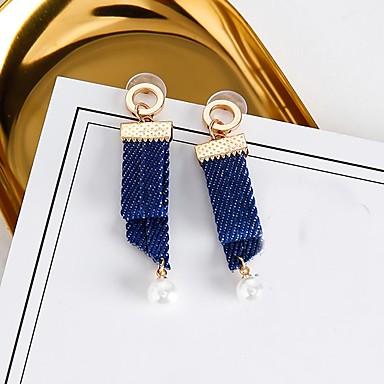 Damskie Pearl imitacja Kolczyki wiszące, Kolczyki koła - Imitacja pereł Niebieski