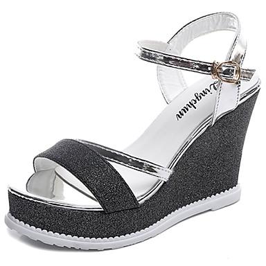Damen Schuhe Lackleder Sommer Komfort Sandalen Offene Spitze Schnalle für Normal Gold Schwarz Silber
