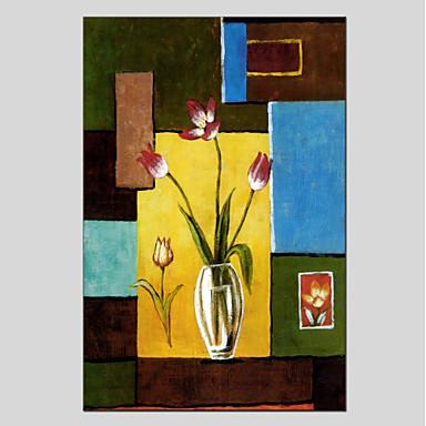 Ręcznie malowane Kwiatowy/Roślinny Pionowo Panoramiczny, Nowoczesny Brezentowy Hang-Malowane obraz olejny Dekoracja domowa Jeden panel