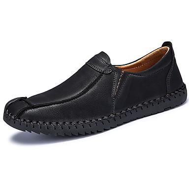 Męskie Buty PU Zima Jesień Comfort Mokasyny i pantofle na Casual Black Yellow Khaki