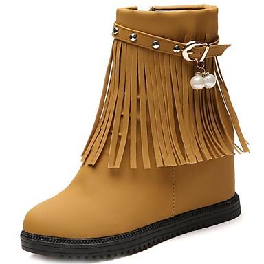 Damskie Obuwie PU Zima Modne obuwie Comfort Buciki Okrągły Toe Kozaczki / kozaki do kostki na Casual Black Brown