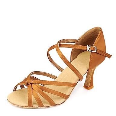 Damen Schuhe für den lateinamerikanischen Tanz Elastischer Satin Sandalen Stöckelabsatz Tanzschuhe Kamel / Innen / Leder