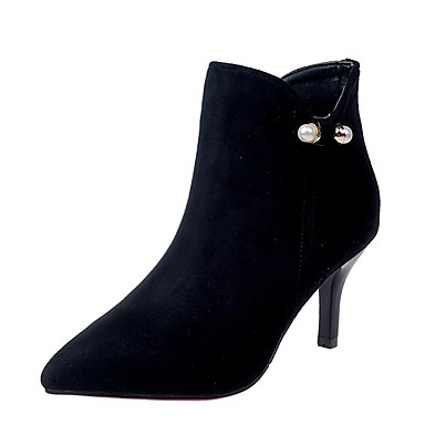 Damen Schuhe Kaschmir Winter Modische Stiefel Stiefel Runde Zehe Mittelhohe Stiefel Reißverschluss Für Normal Schwarz Rot