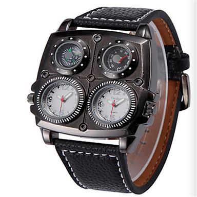 お買い得  軍用腕時計-男性用 リストウォッチ クォーツ キルティングPUレザー ブラック / ブラウン 30 m 耐水 温度計付き コンパス ハンズ ファッション クール - ブラック コーヒー ブラック / ホワイト
