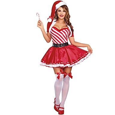 Święty Mikołaj Mrs.Claus Kostium Damskie Święta Festiwal/Święto Kostiumy na Halloween Stroje Czerwony Święto