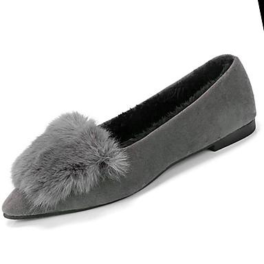 Damskie Obuwie PU Zima Comfort Buty płaskie Pointed Toe Black / Gray