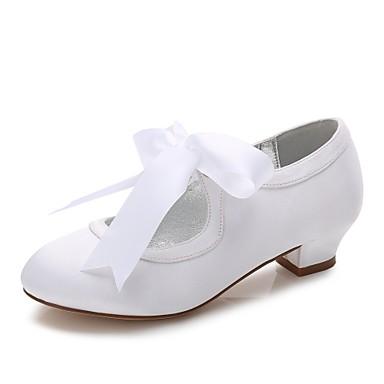 Mädchen Schuhe Satin Frühling Herbst Komfort Ballerina Knöchelriemen Schuhe für das Blumenmädchen Tiny Heels für Teens High Heels