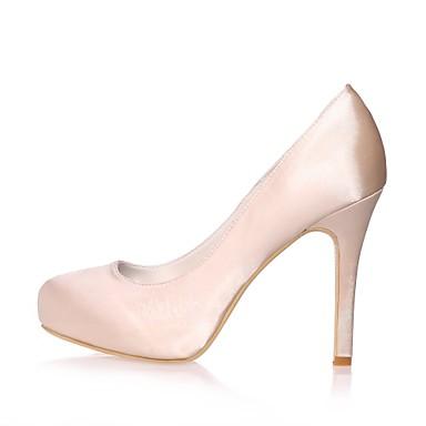 Femme Chaussures Satin Printemps / Eté Escarpin Escarpin Escarpin Basique Chaussures de mariage Talon Aiguille Bout rond Bleu / Champagne / Ivoire | Elaborer  424a78