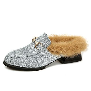Mulheres Sapatos Couro Ecológico Verão Conforto Sandálias Caminhada Salto Robusto Dedo Aberto para Ao ar livre Prata Cinzento Prateado