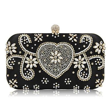 Damen Taschen Polyester Abendtasche Perlenstickerei Perlen Verzierung für Veranstaltung / Fest Alle Jahreszeiten Schwarz Silber Rosa