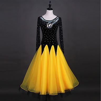 Für den Ballsaal Kleider Damen Leistung Organza Samt Chiffon Kristalle / Strass Langarm Kleid