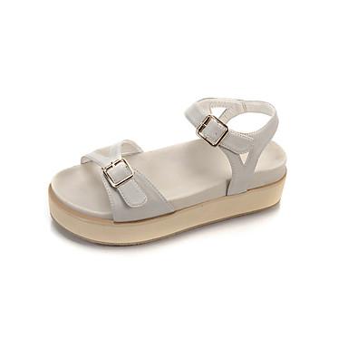 Damen Schuhe PU Sommer Komfort Sandalen Walking Blockabsatz Offene Spitze Schnalle für Draussen Beige