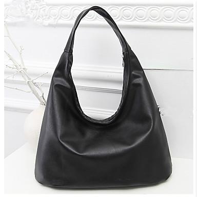 Damen Taschen PU Umhängetasche Reißverschluss Schwarz