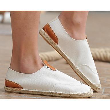 Herrn Schuhe Leinwand Frühling / Herbst Komfort Loafers & Slip-Ons Schwarz / Beige / Khaki