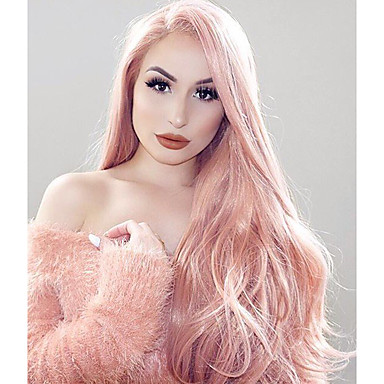 Synthetic Lace Front Wig Wavy Pink Synthetic Hair Pink Wig Women's Long Lace Front Pink