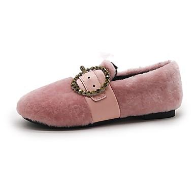 Damskie Obuwie Kaszmir Zima Comfort Mokasyny i pantofle Null / Okrągły Toe Null / na Casual Black Green Różowy