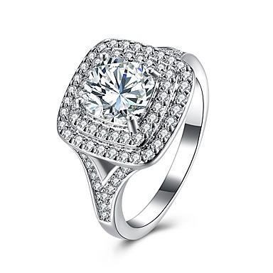 Damskie Kryształ Cyrkon Stop Band Ring - Circle Shape Prosty Modny Silver Pierścień Na Ślub Impreza Urodziny Zaręczynowy Prezent
