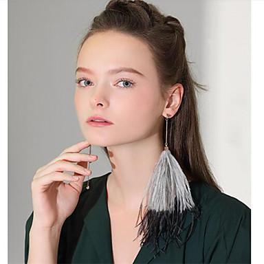 Damskie Kolczyki wiszące Kutas Modny Pokryte piórami Pióro Biżuteria Gray Różowy Inny Wyjściowe Biżuteria kostiumowa
