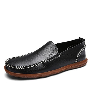 Herren Schuhe Leder Frühling Herbst Komfort Loafers & Slip-Ons Für Normal Schwarz Braun Blau Hellbraun