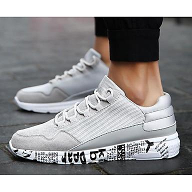 Herrn Schuhe Tüll Frühling Herbst Komfort Sneakers für Normal Schwarz Grau Schwarz/weiss