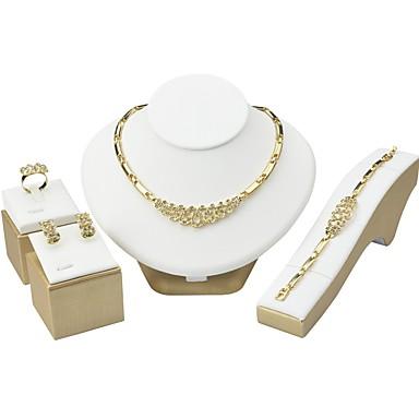 Damskie Cyrkonia Rhinestone Cyrkonia Biżuteria Ustaw - Gold Na Ślub Party Wieczór