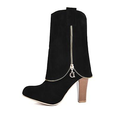 Chaussures Marron Similicuir la Mode Gris Rouge à 06375812 Bottes Hiver Bottes rond Bottes Femme Bout Mi mollet gdx46g