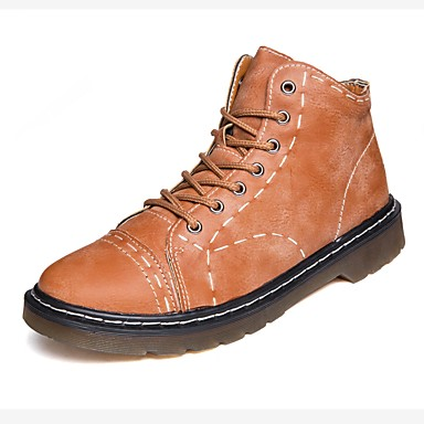 Męskie Fashion Boots Sztuczna skóra Jesień Comfort Buciki Black / Brown