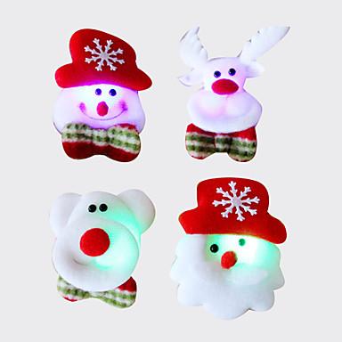 個入りクリスマスサンタのブローチブローチフラッシュファブリック発光クリスマスの装飾クリスマスの贈り物(スタイルランダム)
