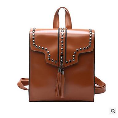 Damen Taschen PU Rucksack Reißverschluss für Normal Ganzjährig Schwarz Grau Braun
