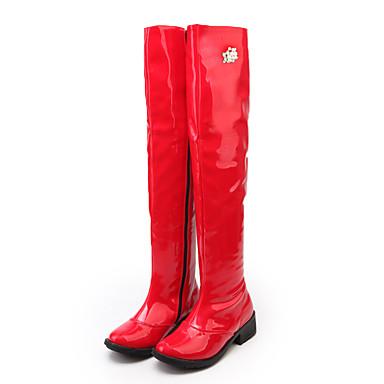 Cuissarde Bottes rond Combat la Perle boîtes pour Imitation Chaussures Mode Cuir Hiver de 06384645 Verni Bottes Strass Automne Bout Femme à FZqB7x6Fw