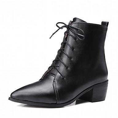 Damen Schuhe Kunstleder PU Winter Komfort Neuheit Modische Stiefel Stiefel Spitze Zehe Booties / Stiefeletten Schnürsenkel für Kleid