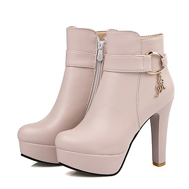 Damen Schuhe Kunstleder Herbst Winter Modische Stiefel Stiefel Runde Zehe Booties / Stiefeletten Strass Schnalle für Normal Kleid Weiß