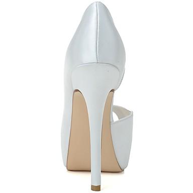 Printemps Rose Chaussures Femme mariage ouvert Mariage de Escarpin Basique Chaussures Bout Talon Eté Blanc Aiguille Satin 06439894 pEwqwf6
