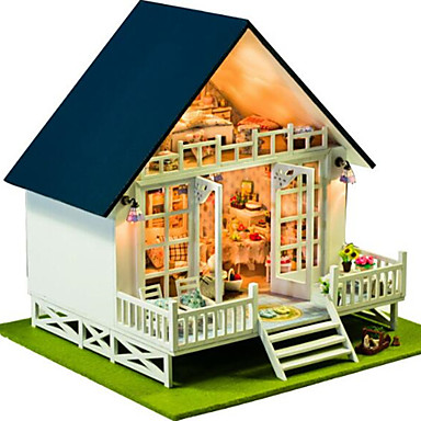 Dollhouse Light Up Toy Model Building Kit Hand-made Exquisite DIY House Villa Natural Wood Romantic Pieces Unisex Gift
