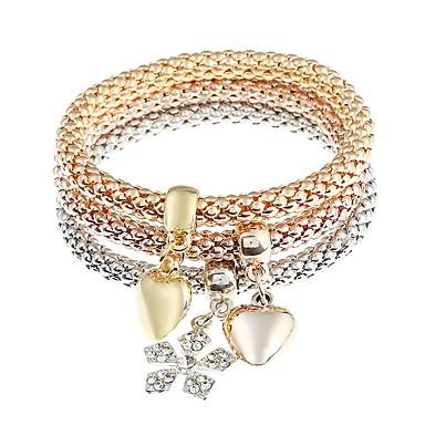 6e647be7cf56 Hombre Mujer Pulseras charm Diamante Sintético Corazón Copo de Nieve  Clásico Moda Pulseras y Brazaletes Joyas Dorado Para Diario