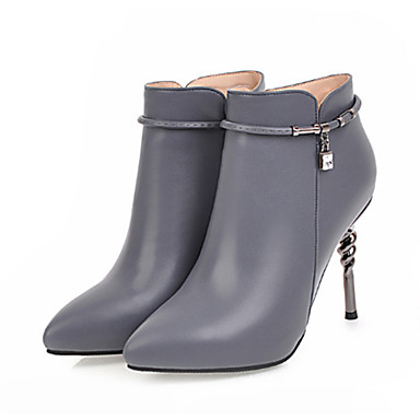 06452809 Bottine Chaussures Femme Polyuréthane Automne Bottes Mode Confort Talon la Bottes Demi Aiguille pointu Bout Printemps à Nouveauté ZTTHfnr