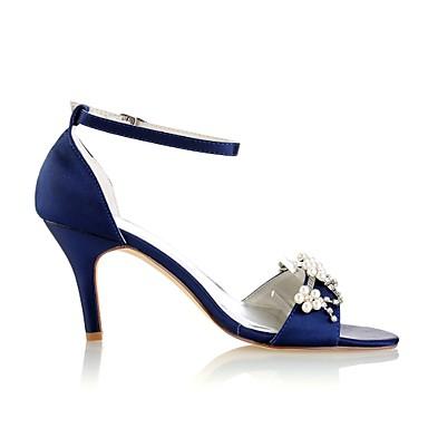 ouvert de Femme Pourpre Cristal Eté Chaussures Chaussures Perle mariage Satin Elastique Escarpin Bout Basique foncé Aiguille Talon 06438377 O007nRwqf