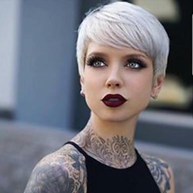 povoljno Ljepota i kosa-Ljudski kose bez kaplama Ljudska kosa Ravan kroj Pixie frizura / Kratke frizure 2019 Stil Stražnji dio Kratko Machine Made Perika Žene