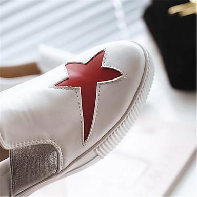 Plateau Personnalisées D6148 Similicuir Chaussons Mocassins Printemps Blanc 06425621 Nouveauté rond Chaussures Matières Bout Femme Automne et xqEwPaRSx