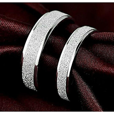 Męskie Damskie Pierścionki dla par Band Ring , 2 Silver Posrebrzany Stop , Prosty Serce Zaręczynowy Cicha sympatia Biżuteria kostiumowa