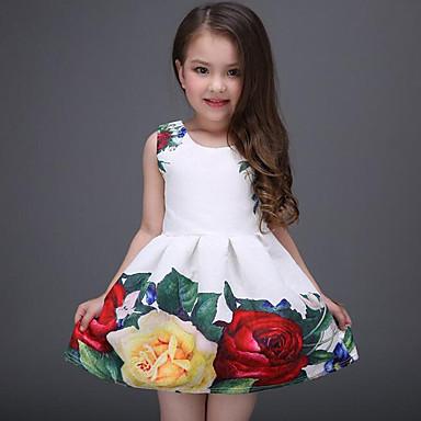 Χαμηλού Κόστους Φορέματα για κορίτσια-Παιδιά Κοριτσίστικα Γλυκός Καθημερινά Αργίες Φλοράλ Στάμπα Αμάνικο Πολυεστέρας Φόρεμα Λευκό
