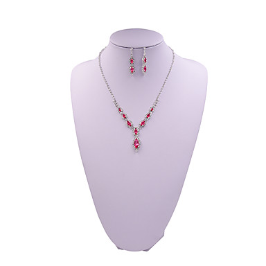 baratos Bijuteria de Mulher-Mulheres Sets nupcial Jóias Geométrico senhoras Fashion Brincos Jóias Vermelho / Azul / Rosa claro Para Casamento Noivado